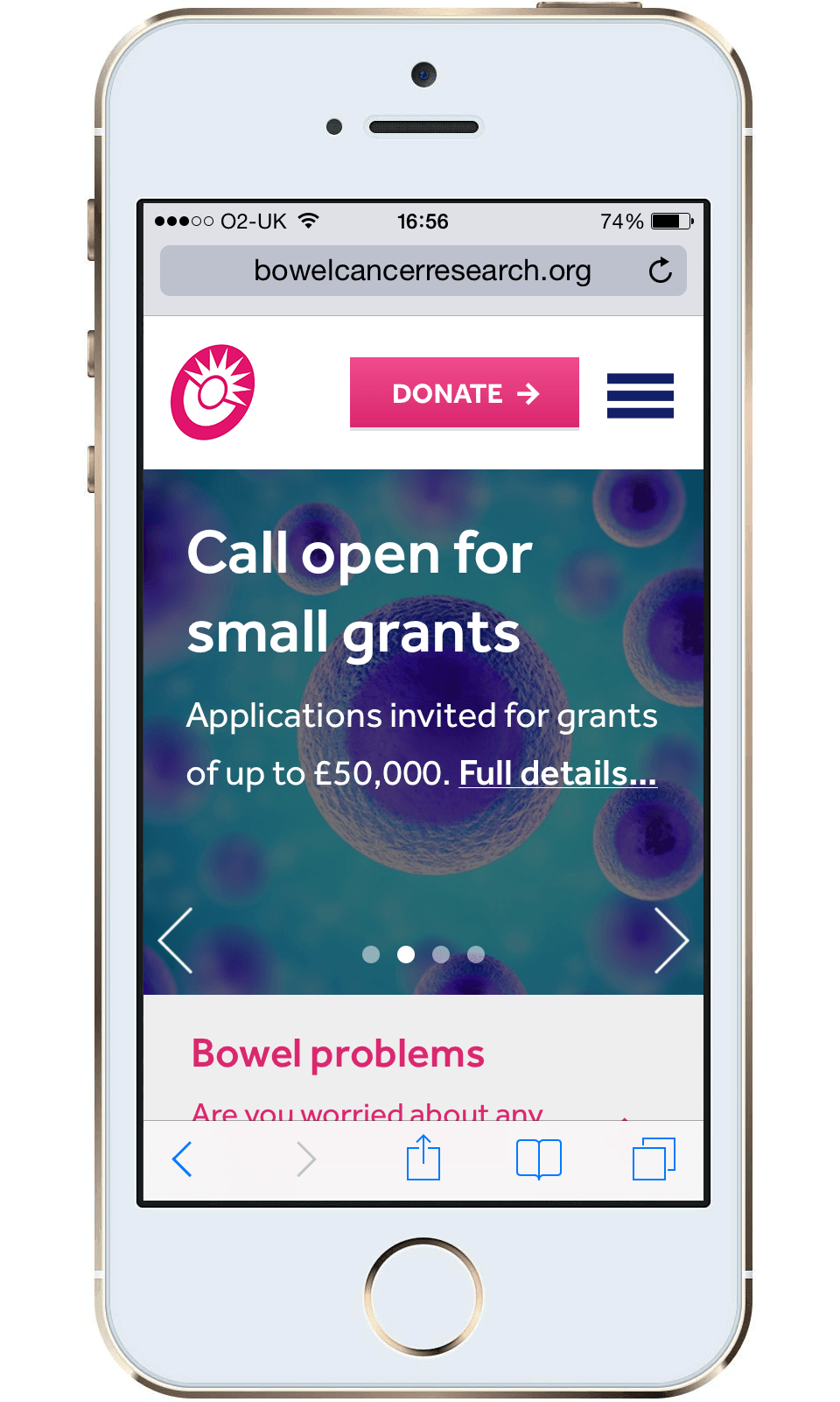Bowel Cancer Research mobile homepage