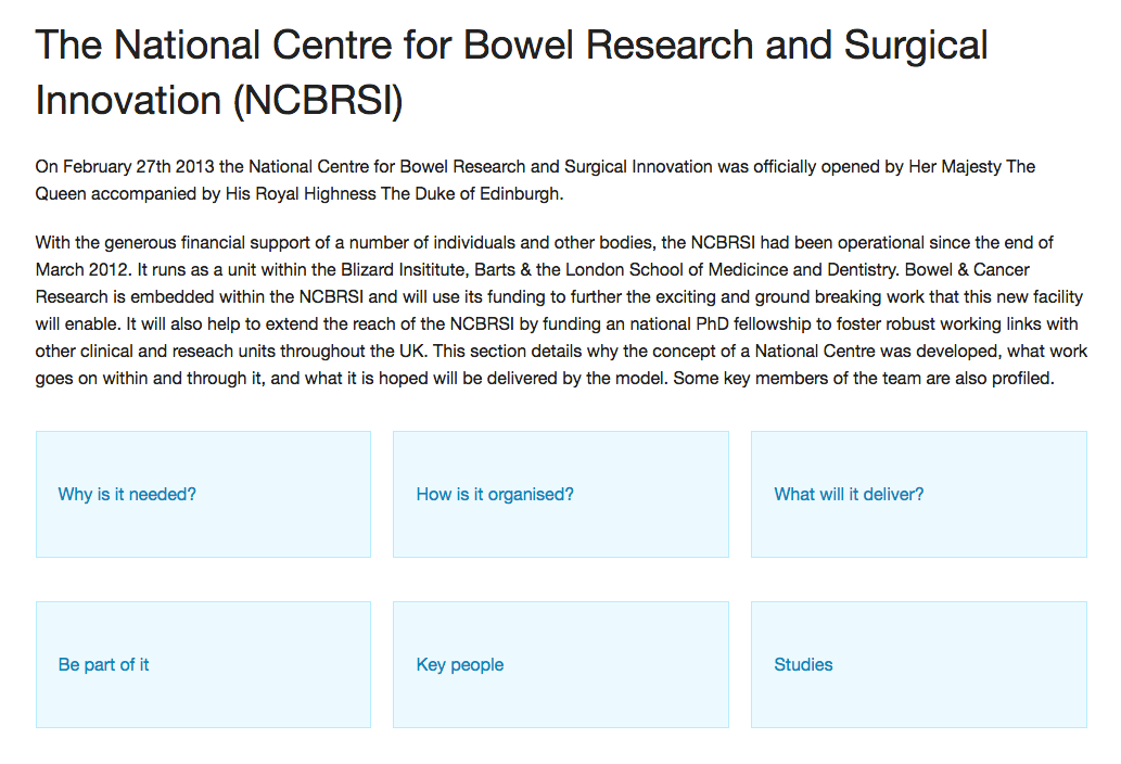 Bowel Cancer Research Foundation prototype