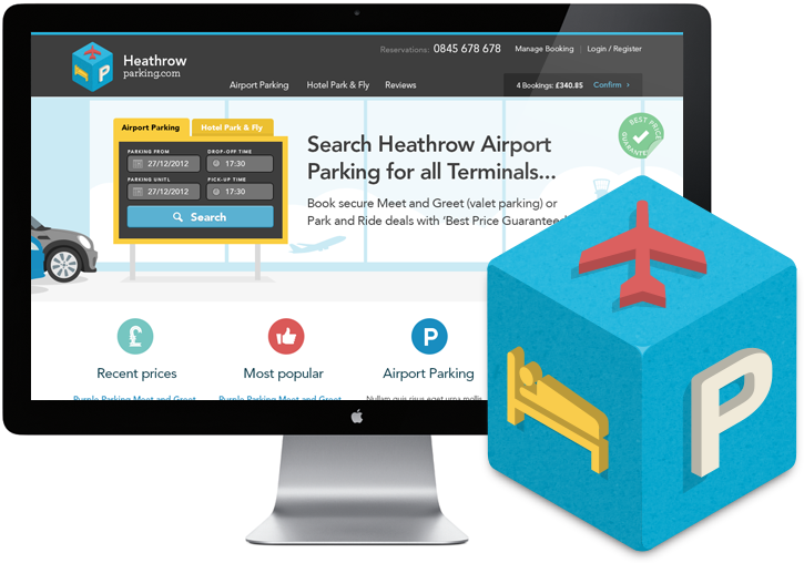 Heathrow Parking monitor and logo