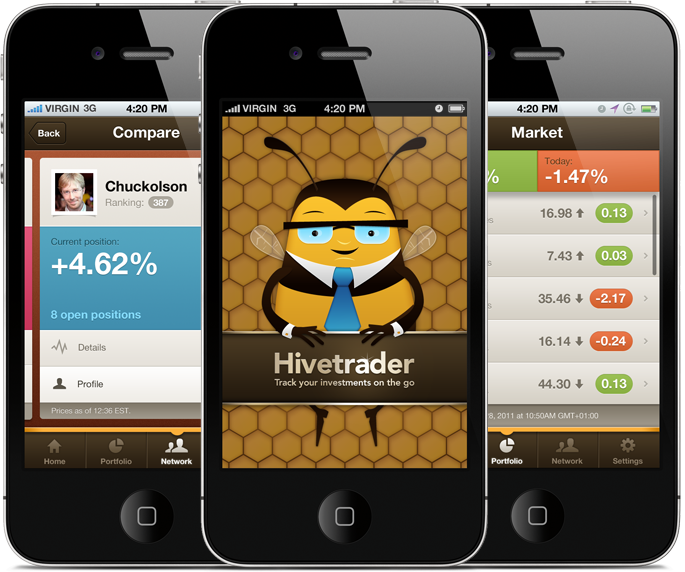 Hivetrader brand, illustration and mobile