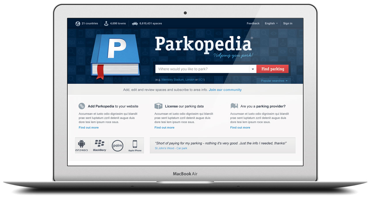 Parkopedia Brand and web design