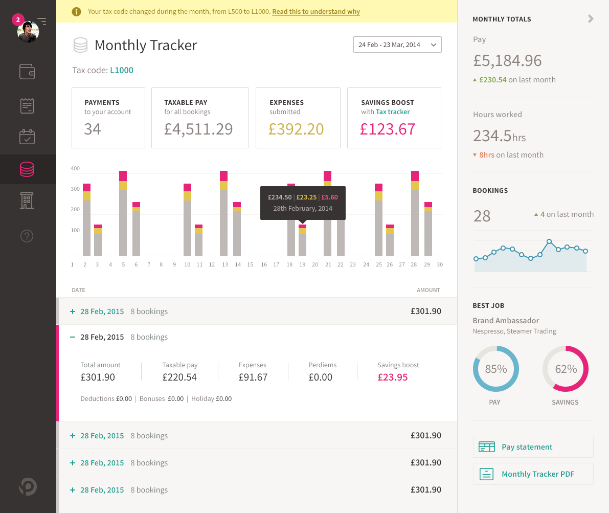 Tax Tracker app dashboard