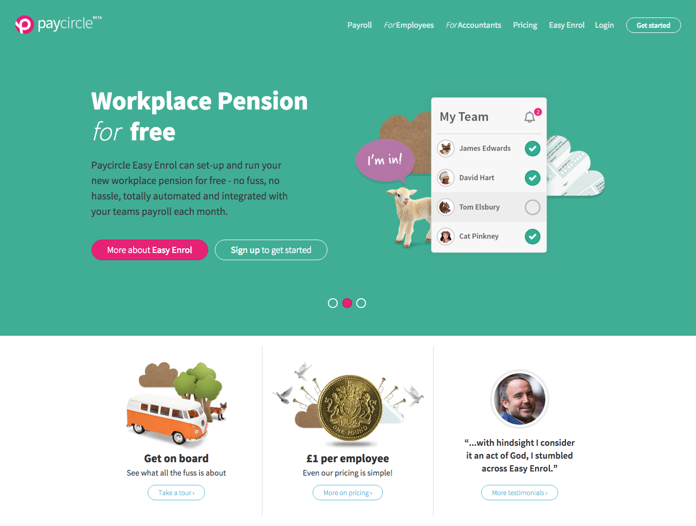 Paycircle Homepage Pension Messaging
